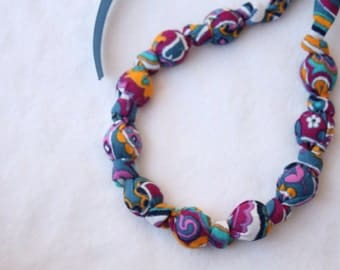Fabric Statement Necklace,Teething Necklace, Chomping Necklace, Nursing Necklace - Fall Swirl