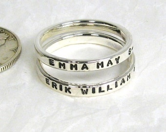 Sterling Silver Name Rings Set of 2 - 2 mm Rings, Sterling Silver Stacking Name Rings, Sterling silver Stacking Rings, Silver Mom Rings