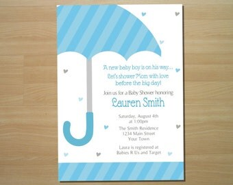 Umbrella Baby Shower Invitation - Digital File (Printing Available)