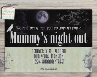 INSTANT DOWNLOAD di Mummys Night Out Vintage Halloween Party Printable Invitation Moms on a Break Invite Girl Boy Birthday Supplies 5x7 PDF