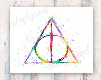 Harry Potter, Deathly Hallows Print, Watercolor, Fine Art, Wall Decor, Dorm Decor, Fangirl, Fandom, Geekery, Nerd, Pastel, Gift