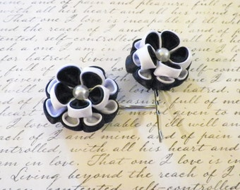 White and Black Peony Flower Bobby Pins