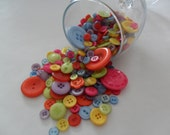 Assorted Button Mix, over 200 plastic buttons, around 100 g / 3.5 oz, for crafting.