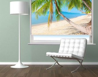 RB60 - Tropical beach with coconut palm photo roller blind