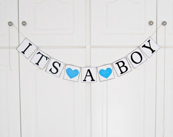 FREE SHIPPING, It's A Boy banner, Baby shower decorations, Baby gender announcements, Baby photo prop, Gift for mother and baby boy, Blue