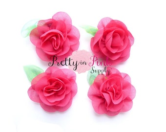 Hot Pink Chiffon Rose with Leaf Flower...You Choose Quantity...Chiffon Rose Flower...Rolled Rosettes...Mini Rolled Rosettes...Shabby Rose