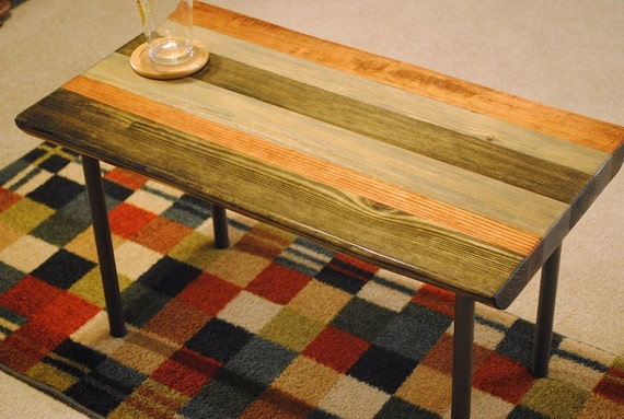 Metal Leg Coffee Table Stained Ebony Gray And Red Oak
