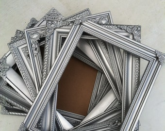 Silver Table Number Frames, Wedding Frames, Set of 10, Mix & Match, Metallic Silver, Table Numbers, Baroque,Ornate Frame (Los Angeles)