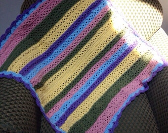 Sunny Spring Striped Crocheted Baby Blanket