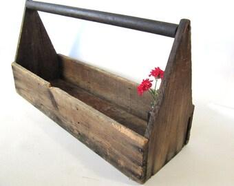 Shabby Chic Tool Box, Vintage Wood Box,crate