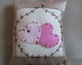Valentine Beaded Pillow, cushion, Pink hearts