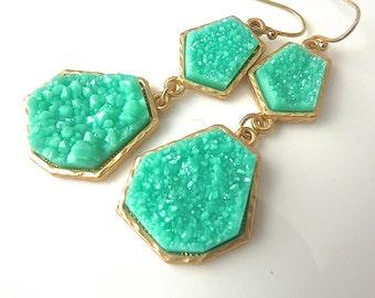 Druzy Drusy Mint Aqua Geometric Gold Edge  Dangle Bridesmaid Earrings. Jewelry for her