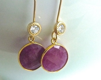 Ruby Faceted Stone and Cubic Zirconia Dangle Earrings.  Ruby Jewelry. Ruby Earrings. Bridesmaids Jewelry