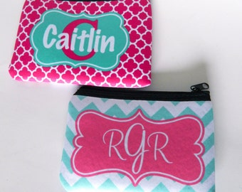 Personalized Zippered Pouch Custom made with your name or monogram initials