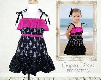 Dress pattern for girls, Girls sewing pattern pdf, Girls Dress Pattern, sewing pattern for kids, girls clothing pattern, GYPSY