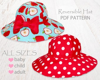 Hat sewing pattern, girls sewing pattern pdf, childrens sewing pattern, girls hat pattern, baby hat pattern, womens hat pattern, SUNHAT