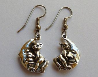 Sterling Silver Cat Hugging Moon Earrings
