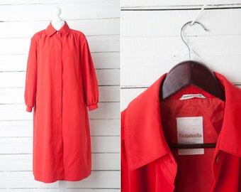 Maxi Vintage Red Women Coat / Size 40 / Large Women Coat / Fall Trench Coat / Scarlet Rain Coat / Classic Outerwear / Womens Outdoor