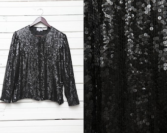 Vintage Black Sequin Disco Glitter Long Sleeve Embroidered Women's Jacket / Ladies Retro Summer Cape / Size S / 80s Fashion Style