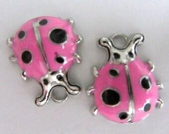 Set of 4 pieces Pink LADYBUG Charm Pendants