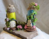 Bur Acorn/Spring/Summer/Fairy/Miniature/Garden/Set of two houses
