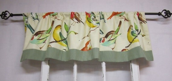 Kitchen Curtains bird kitchen curtains : Items similar to Kitchen curtains, window valence, bird valance ...