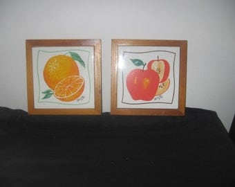Vintage ceramic and wood wall plaques art wall hanging