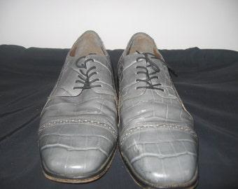 Vintage Mens gray Stacy Adams shoes lace ups size 12m