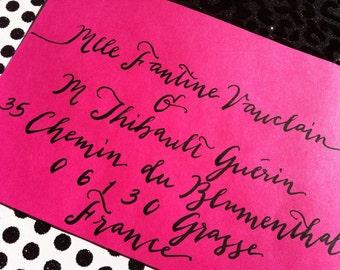 FANTINE : Custom Wedding Calligraphy Envelope Addressing Script Bombshell Pro Font