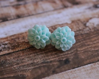 Aqua/Light Blue Dahlia Earrings- Flower Earrings- Rose Earrings- Wedding Jewelry- Brides Maid- Flower Girl- Bridal Jewelry- Earrings