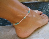 Diana Turquoise Anklet, Rose Gold Anklet, Gold Turquoise Anklet, Boho Fashion Jewelry, Festival Jewelry
