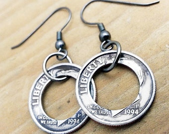 23rd Birthday 1994 Dime Hoop Earrings 23rd Birthday Gift 23rd Anniversary Coin Jewelry made from a 1994 Dime Gift for Her