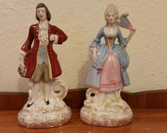 Mid Century ETON China Hand Painted Figurine Colonial Victorian Couple Shabby Cottage Chic