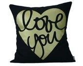"Love You  Pillow Cover // 16""x16"" Silk Screen Black Pillow Cover"