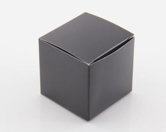 50x Black Wedding Favor Cube Boxes-Bridal Shower-Baby Shower-Party Favor-Candy Gift Box 2x2x2
