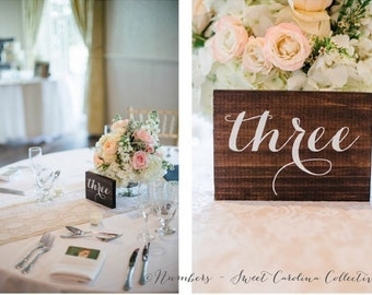 Calligraphy Table Numbers | Table Numbers | Wood Table Numbers | Wedding Table Number | Wedding Table Decor | Calligraphy Numbers - TB-2