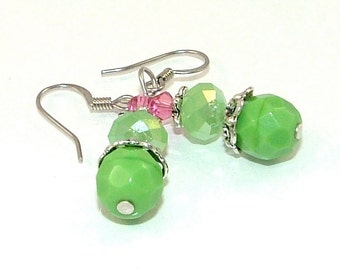 CLEARANCE - Spring Pink and Green Czech Glass and Crystal Earrings