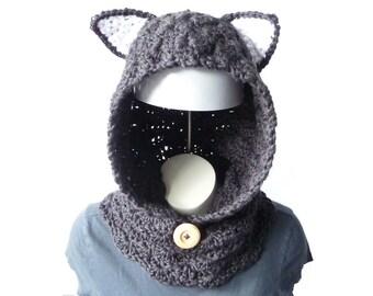 Crochet Cowl CROCHET PATTERN Hooded Scarf Crochet Neck Warmer Pattern Crochet Neckwarmer Cat Hood Scarf Women Hoodies Cute Hoodies Kawaii
