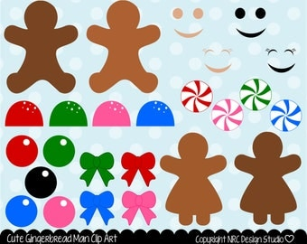 Christmas Clip Art, Cute Gingerbread Man Candy Bows Peppermint Gumballs Bows Clip Art - Commercial Use