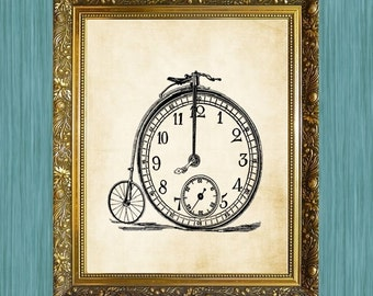 Bicycle Print Bicycle Clock Print Steampunk Clock 8 x 10