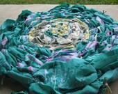 Medium Round Handmade Hand-Woven Upcyled Recycled Repurposed Pink Yellow Green Turquoise White Fabric Bathroom Kitchen Rug Mat Decoration