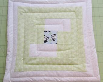 Pandas in the Garden mini quilt
