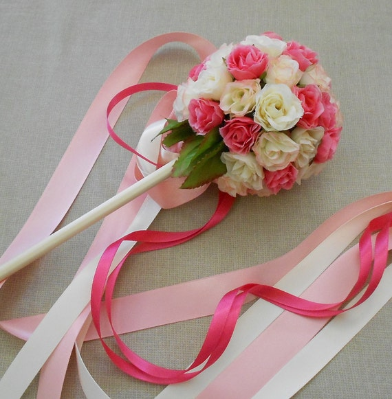 Pink Rose Flower Girl Ribbon Wand Small