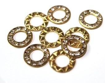 100 PCS Gold Round Holed Beads Cabochons with Rhinestones
