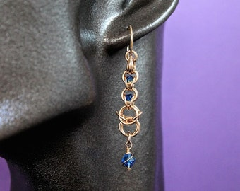 Handmade Bronze Chainmaille Captured Crystal Earrings with Swarovski Crystal Dangles