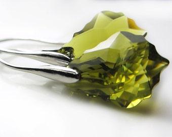 Swarovski Olive Green Earrings Swarovski Green Crystal Earrings Green Crystal Baroque Briolettes Olivine Earrings Gift for her
