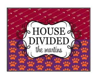 House Divided Doormat Personalized State Door Mat