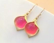 Calla Lily Earrings, Delicate Earrings Gold Dainty Jewelry, Hot Pink Earrings, Romantic Gift Ideas for Women, Wedding Gift Ideas for Her