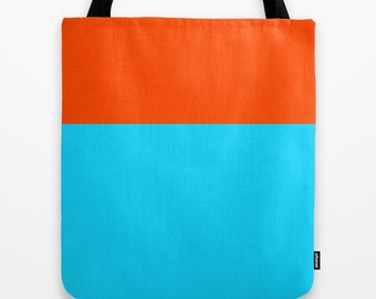 Women's Tote Bag,Colorblocking, Orange and Turquoise, Canvas Tote Bag