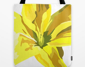 Yellow Tote Flower Tote Bag Tote Bag 16x16 inches Art Tote Bag